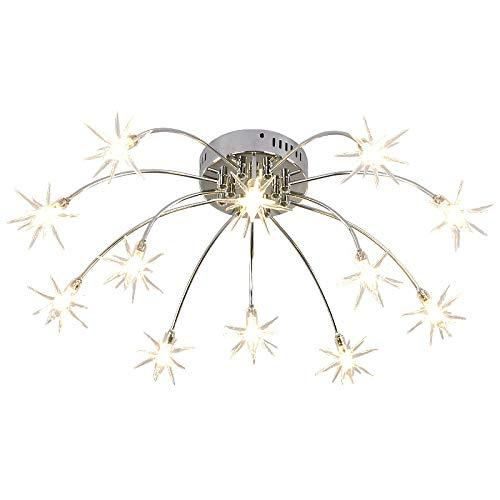 Diommest Gypsophila - Lámpara de techo para salón, diseño minimalista de estilo nórdico, para comedor o dormitorio creativo, iluminación LED de metal, metal, Blanco frío, 15 head