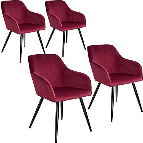 tectake 800866 4er Set Esszimmerstuhl mit Armlehnen, gepolstert, Sitzfläche aus Samt, Schwarze Metallbeine, für Wohnzimmer, Esszimmer, Küche und Büro (Bordeaux Schwarz | Nr. 404039)