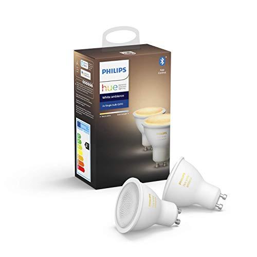 """Philips Hue White Ambience GU10 LED Lampe Doppelpack, dimmbar, alle Weißschattierungen, steuerbar via App, kompatibel mit Amazon Alexa (Echo, Echo Dot), Gerät """"Zertifiziert für Menschen"""""""