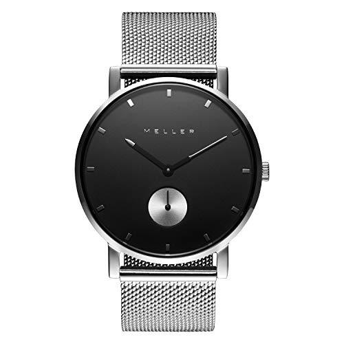 Meller Unisex Erwachsene Analog Quarz Uhr mit Edelstahl Armband 2S-2SILVER
