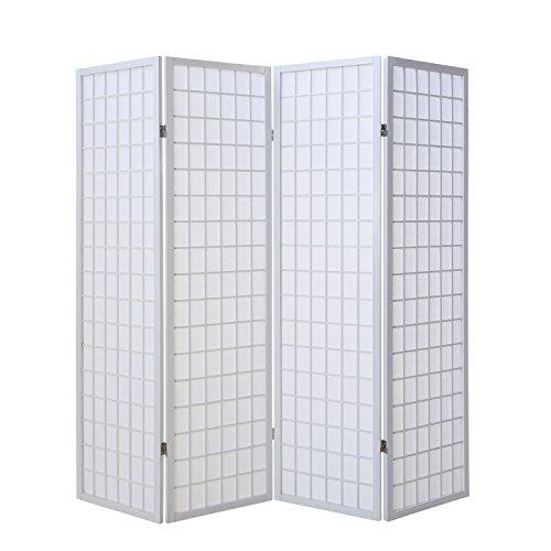Homestyle4u 261, Paravent Raumteiler 4 teilig, Holz Weiss, Reispapier Weiß, Höhe 175 cm