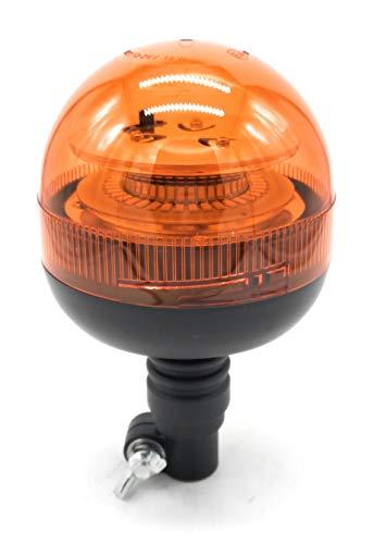 Rotativo LED flexible destellante homologado para tractor, camion, o vehiculo multivoltaje 12 o 24 voltios con luz ambar intermitente y destellante estrosbotica de emergencia, Irrompible.