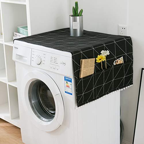 Kühlschrank Staubdichte Abdeckung Kühlschrank Staubschutzhaube Multifunktionale Waschmaschine Staubdicht Wasserdicht Waschmaschine Abdeckung Nordischen Stil Geometrische Muster (Schwarz)