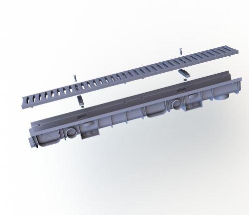 Entwässerungsrinne 60 Klasse B Kunststoff mit Kunststoffrost und Rostsicherungen, montiert, 1050 x 80 x 125 mm