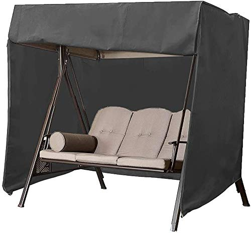 3 Seater Garden Swing Cover Waterproof Outdoor Swing Chair Cover Oxford Fabric Large Patio Hammock Protective Cover with Zipper 220x125x170cm Black