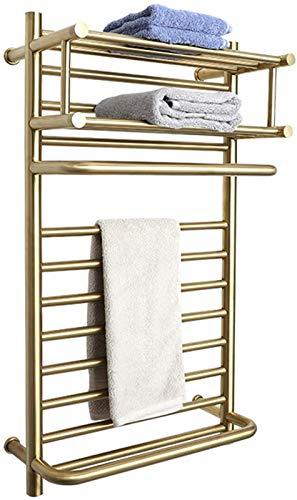 Toallero eléctrico Riel de toallas con calefacción recta, calentadores de secador de toallas Montado en la pared con dos capas Estante de almacenamiento superior Radiador calentado con calefacción elé