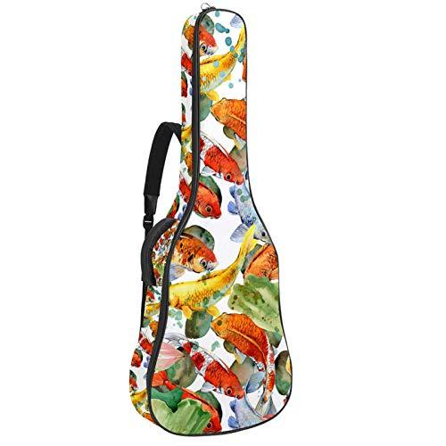Bolsa de guitarra reforzada con esponja gruesa demasiado acolchada, funda para guitarra, cuna para el cuello,Guitarra clásica acústica,Carp Koi con flor