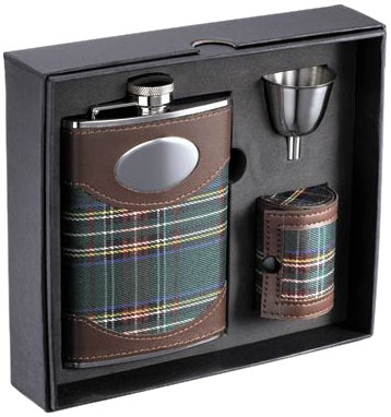 Visol'Edinburgh' Plaid Cloth Stainless Steel Deluxe Flask Gift Set, 8-Ounce