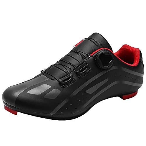 KUXUAN Zapatos de Ciclismo para Hombre, Mujer, Calzado Deportivo Profesional para Bicicleta, Hebilla Giratoria con Cierre Automático, Tacos Transpirables,Black-12UK=(280mm)=46EU