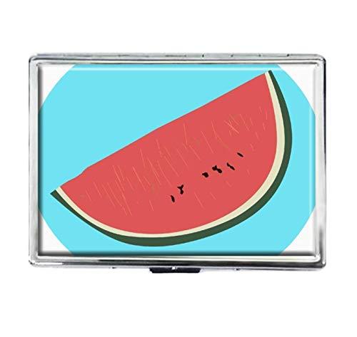 Niedliche Wassermelonen-Zigarettenetui, modisch, personalisierbar, Edelstahl, große Zigaretten, Spender, Karten-Box, Aufbewahrungsbox, für Damen und Herren