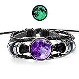MHOOOA Luminous Moon Kristall Armbänder & Armreifen Glow In The Dark Planet Glas Cabochon Casual Leder Paar Armband Geschenk