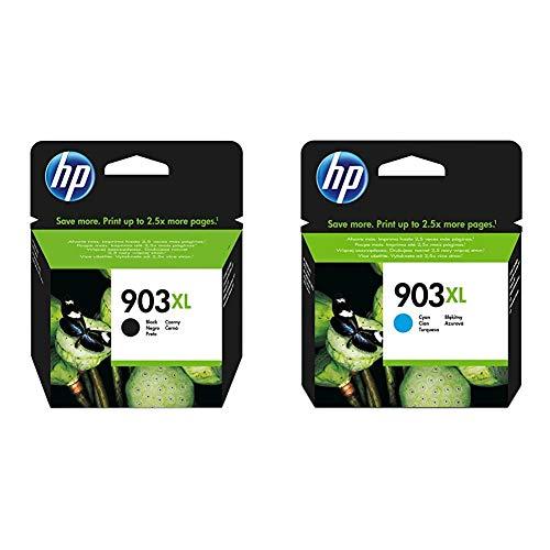 HP 903XL T6M15AE, Negro, Cartucho de Tinta de Alta Capacidad Original + 903XL T6M03AE, Cian, Cartucho de Tinta de Alto Rendimiento Original