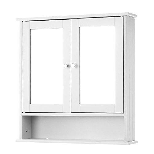 IKAYAA Armario de Baño Organizador 3-Niveles Armario de Pared con 2 Puertas y Espejos Color Blanco (56 * 13 * 58 cm)