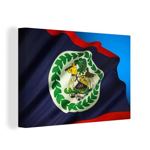Leinwandbild - Die Flagge von Belize auf blauem Hintergr& - 30x20 cm