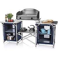 CamPart Travel Cocina de camping Málaga, Con paravientos, Dos compartimentos de almacenamiento, Armario doble, Azul, 172 x 48 x 79.5/110.5