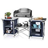 CamPart Travel Cocina de Camping Málaga, con Paravientos, Dos Compartimentos de Almacenamiento, Armario Doble, Unisex Adulto, Azul, 172 x 48 x 79.5/110.5