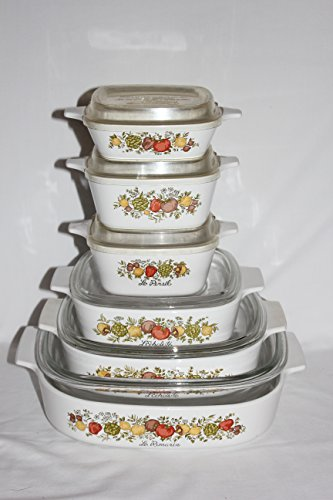 Set of 12 - Vintage 1970s Corning Ware' Spice O' Life' Covered Casserole Skillet Baking Dishes w/Lids (2 Liter, 1.5 Liter, 1 Quart, 2 3/4 cup, 700 ml & 1 3/4 cupml)