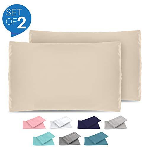 Dreamzie - 2er Set Kissenbezug 40x70 - Bezüge Beige - Kissenbezüge Mikrofaser (100% Polyester) - Kopfkissenbezug sehr Weich