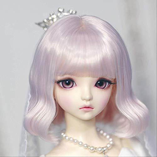 YANGWEI Doll Girl Gradient Blue Curly Pear Hair Peluca Corta 1/4 1/3 Doll Bob Peluca Accesorios-Excepto Muñecas