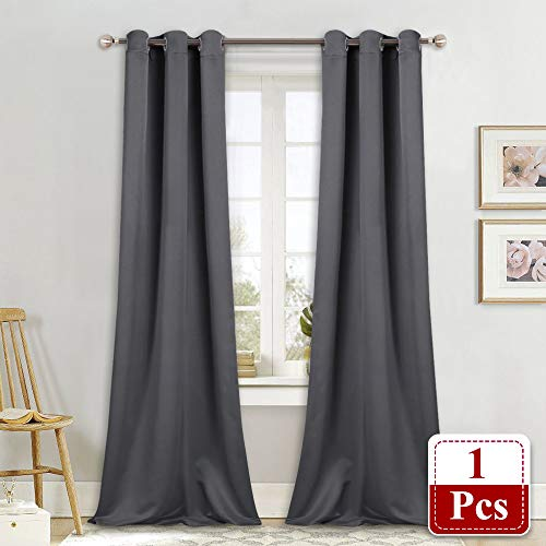 NICETOWN Thermal Insulated Blackout Curtain - Grommet Top Window Treatment Drape for Hall (Grey, 1 Panel, W42 x L90 inches)