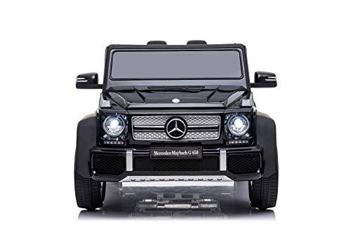RIRICAR Elektroauto für Kinder Mercedes G650 Maybach, Schwarz, Originallizenz, 12 V batteriebetrieben, Türen öffnen, 2,4 GHz Fernbedienung, weiche Eva-Räder, Federung, Sanftanlauf