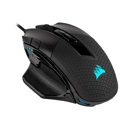 Corsair nightsword rgb - comfort performance tunable fps/moba optical ergonomic gaming mouse with backlit rgb led, 18000 dpi, black