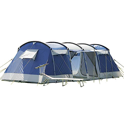 Skandika Montana 8-10 Person/Man Family Group Tunnel Tent with Sun Canopy, 200 cm Peak Height, 5000 mm Water Column, 2-4 Sleeping Cabins (Blue 8 Berth)