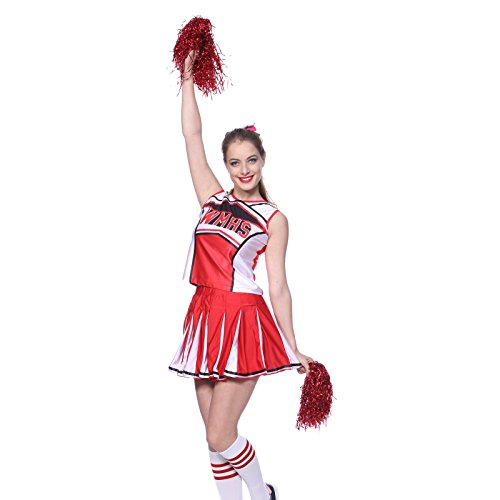 maboobie Tenue Complete Debardeur Jupe a Volant Pom-Pom Girls Cheerleader Rouge AV/ 2 Pompons M (34-36)