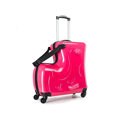 Portable children's travel thickening trolley case,Unisex Travel Tots Kids luggage (pearl red, 20)