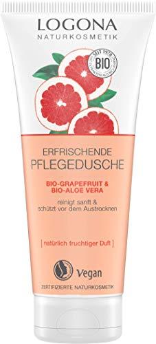 LOGONA Naturkosmetik Erfrischende Pflegedusche Bio-Grapefruit & Bio-Aloe Vera , Natürliche sanfte Reinigung, Spendet Feuchtigkeit für trockene Haut, Vegan, 200ml