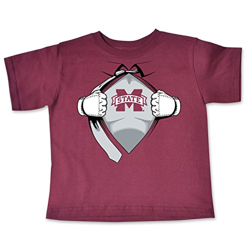 College Kids NCAA Mississippi State Bulldogs Children Short Sleeve Toddler Tee Superhero Sports Fan T Shirt, 3, Maroon