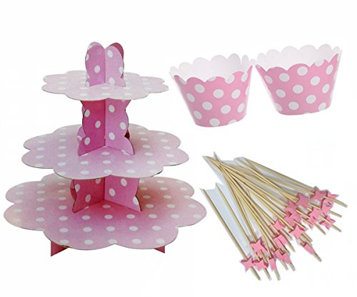 Cotigo-Set/Soporte para Cupcakes,de Cartón+ Capsula de Cupcake+Signo de La Fruta Productos de Bambú,para Fiesta Cumpleaños,Boda,Diseño de Lunares (Rosa)