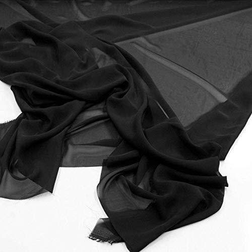 TOLKO Chiffon Stoff als zarter Modestoff | Dekostoff zum Nähen und Dekorieren | Halb transparent, knitterarm | Meterware (Schwarz)