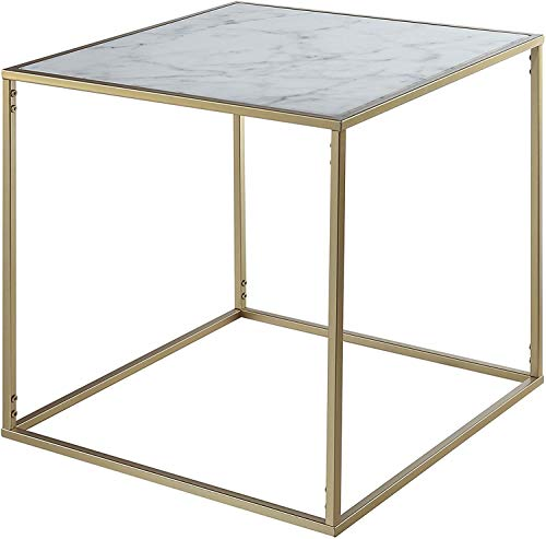 Convenience Concepts Gold Coast Faux Marble End Table, Gold / Faux Marble