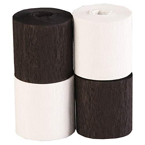 Clairefontaine 914293C - Paquet de 4 Bandes de Papier Crépon Ignifugé - Non-Inflammable - Format (l)5cm x (L)10m - Loisirs Créatifs Adultes - Décoration DIY - Assortiment Noir et Blanc - 2 couleurs