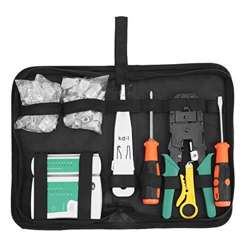 Kit de herramientas de mantenimiento de reparación de cables de red Probador de cables profesional Herramientas de reparación de LAN Juego de herramientas pelacables para trabajos de cableado de red