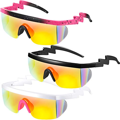 3 Pack of Neon Zig Zag 80s Party Shades