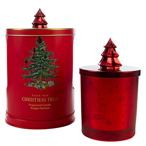 Wax Lyrical - metalen doos met muziek met kaars Christmas Tree Music Wax Tone Red Medium