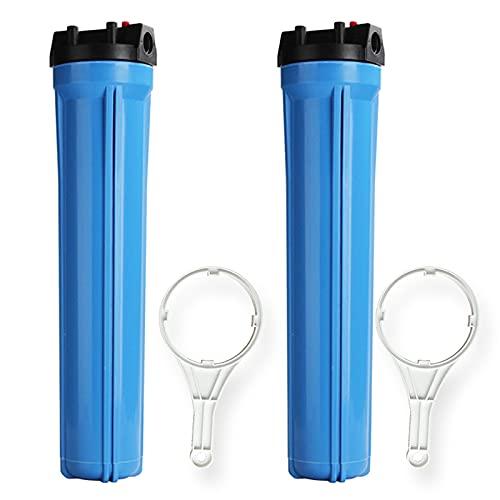 FILTER Carcasa de Filtro de Agua para Toda la casa Puerto de 1/2 Pulgada y filtros de sedimentos de 20 Pulgadas, con Llave (2 Paquetes)
