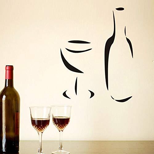 JXMK een wijnglas en een fles muursticker eenvoudig op te plakken DIY decoratieve sticker wooncultuur keuken kinderen woonkamer decoraties sticker | muursticker 58 cm x 76 cm
