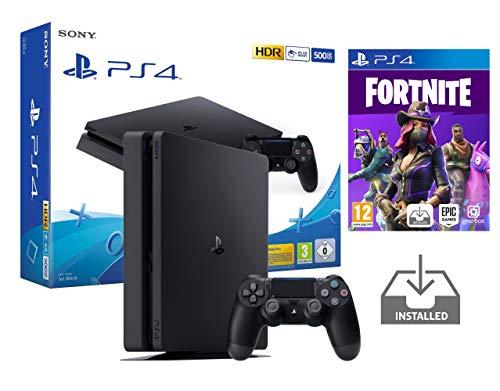 PS4 Slim Console Playstation 4 Noir Pack + Fortnite: Battle Royale Préinstallé (Noir 500Go + Fortnite)