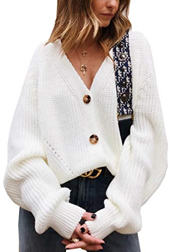 Angashion Women's V Neck Button Down Long Sleeve Cable Knit Cardigan Sweaters Outerwear Tops White M