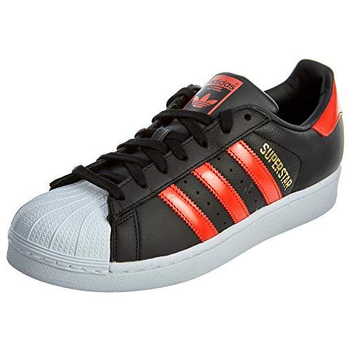 adidas Originals Men's Superstar Shoe Running, black/bold orange/white, 7 M US