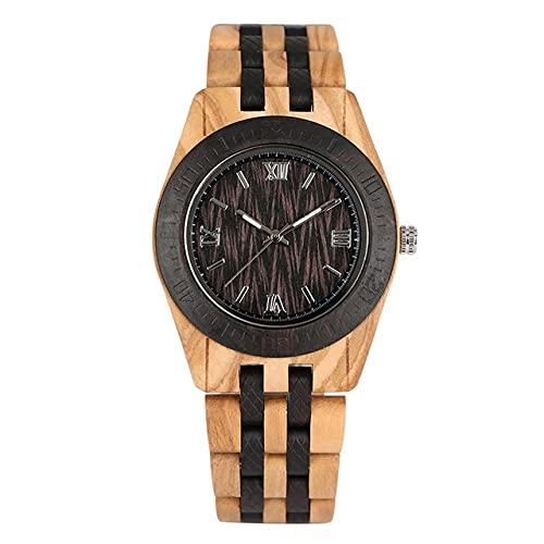 GIPOTIL Reloj de Madera Vintage Reloj de Pulsera de Cuarzo Informal Reloj de Pulsera de Madera Natural Completo Reloj Masculino Reloj de Pulsera con Brazalete de Moda para Hombre Relogios, bambú