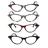 VISENG 4 Pack Cat Eye Style Spring Hinged Reading Glasses for Women Ladies Fashion Chic Readers +2.5