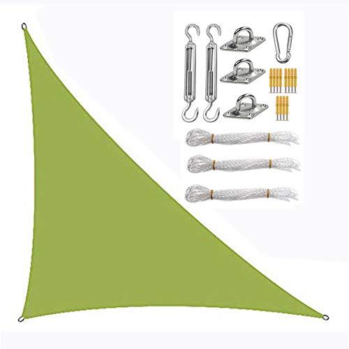 Toldo de vela triangular con juego de fijación, protector solar, tela Oxford impermeable, anti-UV (5 × 5 × 7,1 m, amarillo-verde)