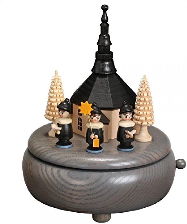 Musikdose – grau Seiffener Kirche und Kurrende Hhe 13 cm NEU Erzgebirge Spieluhr Spieldose