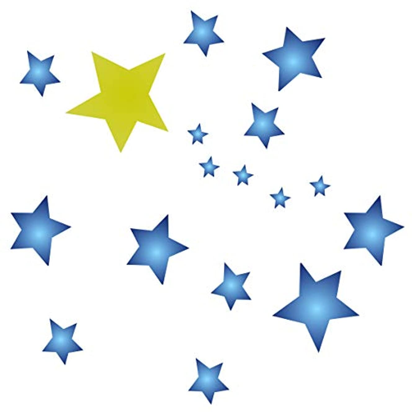 Stars Stencil - 10 x 10 inch (M) - Large Reusable Stars Sky Cluster Allover Pattern Wall Stencil Template - Use on Paper Projects Scrapbook Journal Walls Floors Fabric Furniture Glass Wood etc.