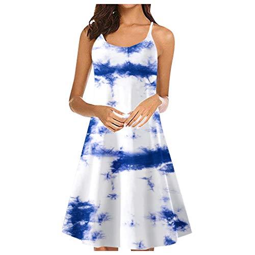 Xniral Kleider Damen Sommerkleid Ärmellos Sommer Vintage Mini Kleid Midikleid Verstellbarer Schultergurt Kleid Kurz Enges Kleid Ballkleid Abendkleid (b Blau,L)