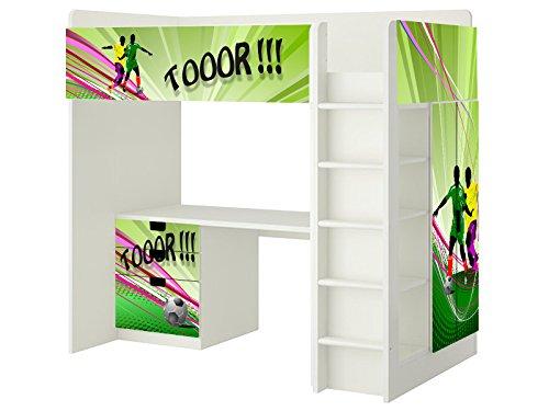Fussball Aufkleber - SH09 - passend für die Kinderzimmer Hochbett-Kombination STUVA von IKEA - Bestehend aus Hochbett, Kommode (3 Fächer), Kleiderschrank und Schreibtisch - Möbel Nicht Inklusive | STIKKIPIX